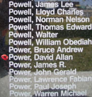 Memorial– Flying Officer David Allan Power is commemorated on the Bomber Command Memorial Wall in Nanton, AB … photo courtesy of Marg Liessens
