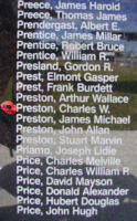Memorial– Flight Sergeant Charles William Preston is also commemorated on the Bomber Command Memorial Wall in Nanton, AB … photo courtesy of Marg Liessens