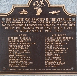 Plaque– This plaque is attached to the Bay of Islands War Memorial.