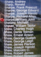 Memorial– Sergeant William John Sharpe is commemorated on the Bomber Command Memorial Wall in Nanton, AB … photo courtesy of Marg Liessens