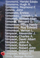 Memorial– Pilot Officer William Egbert Simpson is commemorated on the Bomber Command Memorial Wall in Nanton, AB … photo courtesy of Marg Liessens