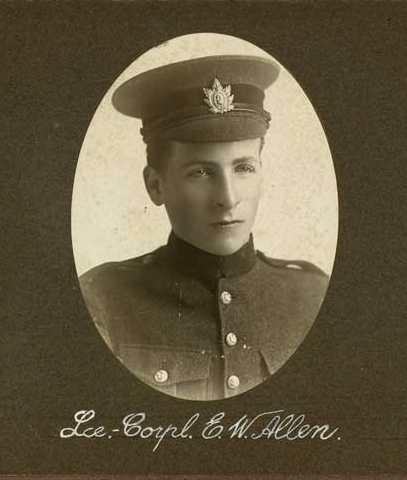 Photo of EDMUND WALLACE ALLEN– In memory of the employees of the T. Eaton Company that went to war and did not come home.  Submitted for the project, Operation: Picture Me
