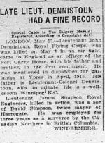 Newspaper Clipping– Clipping from Calgary Daily Herald May 15, 1916.