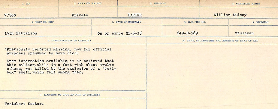 Circumstances of Death Registers– Source: Library and Archives Canada.  CIRCUMSTANCES OF DEATH REGISTERS, FIRST WORLD WAR Surnames:  Bark to Bazinet. Mircoform Sequence 6; Volume Number 31829_B016716. Reference RG150, 1992-93/314, 150.  Page 63 of 1058.