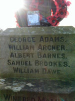 Inscription– Albert's name is commemorated on Sugwas War Memorial, Herefordshire.  He was born 3 miles away at Burghill and was a miner by occupation.  He enlisted on 30th March 1916 in Vancouver where he living at 1716 Pendrell Street.