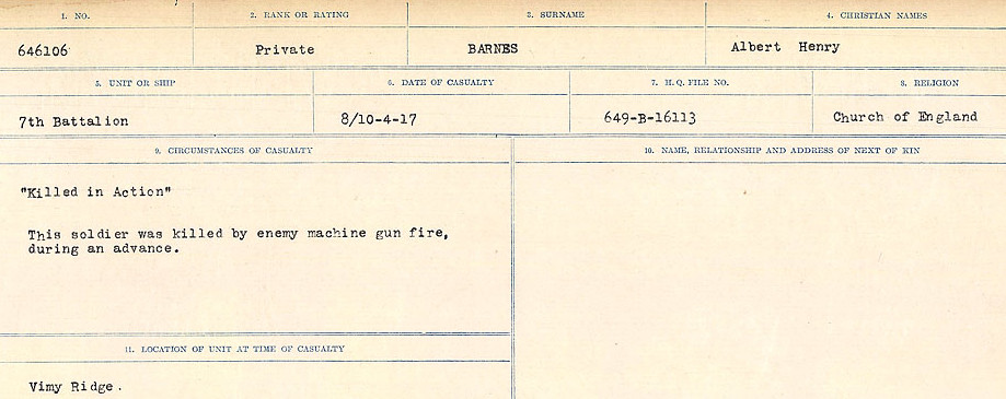 Circumstances of Death Registers– Source: Library and Archives Canada.  CIRCUMSTANCES OF DEATH REGISTERS, FIRST WORLD WAR Surnames:  Bark to Bazinet. Mircoform Sequence 6; Volume Number 31829_B016716. Reference RG150, 1992-93/314, 150.  Page 163 of 1058.