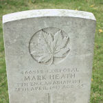 Grave Marker– The grave marker at the Arras Road Cemetery located outside Roclincourt, about 5 kilometres from Canada's Vimy Memorial. May he rest in peace. (John & Anne Stephens 2013)