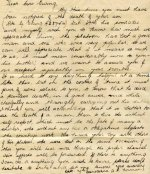 Letter– A handwritten copy of a letter composed by Lieutenant A. P. Norman, 7th Battalion; to the mother of George Ewing, who died April 14th, 1916. Copied by Ewing's sister.