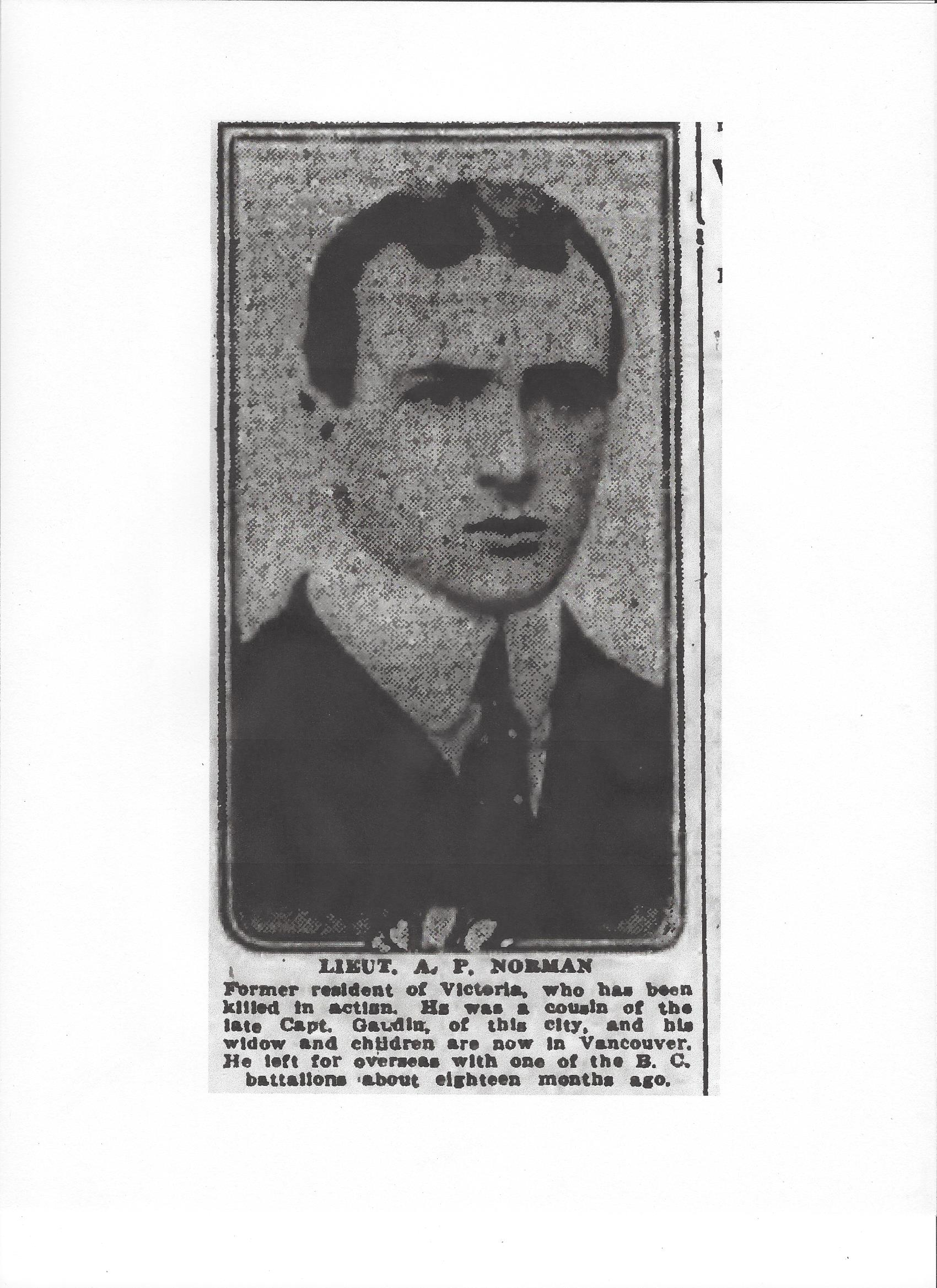 Newspaper clipping– From the Daily Colonist of April 20, 1917.