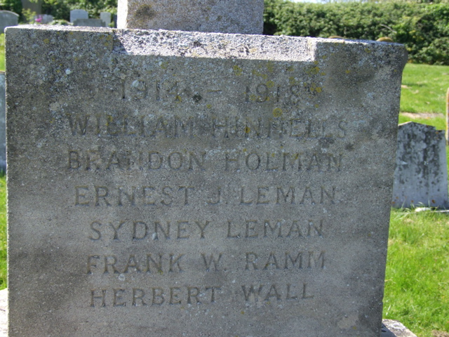 Inscription– William Hinnells's name on the War Memorial in Salthouse (St Nicholas) Churchyard, Norfolk