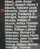 Memorial– Pilot Officer Oscar Jacob Albrecht is also commemorated on the Bomber Command Memorial Wall in Nanton, AB … photo courtesy of Marg Liessens