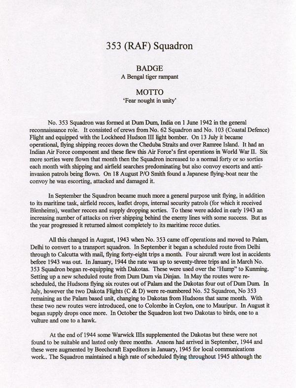 353 ( RAF ) Squadron History