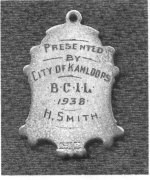 Inscription– Inscription on the 1938 B.C. Intermediate Lacrosse Champions medal awarded by the City of Kamloops.