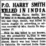 Newspaper Aticle on the death of Harry Smith.– Kamloops Sentinel newspaper announcement on the death of P/O Joseph Harry Smith , August 13 , 1942 appeared on September 24 , 1942.