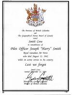 Proclamation– B.C. Proclamation regarding the Geographic designation of Smith Cove at Kamloops Lake , British Columbia