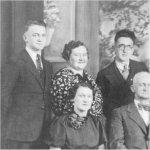 "Smith Family Photo - Circa 1939 - 40– Back Row left to Right - Joseph Harry , RCAF - Florence - Norman - Vincent , RCN - Frank - Eileen -Wilbur , RCA Front Row - Ina - Father , Captain John Joseph Smith - Mother , Malvina Smith ( Pombert ) - Marie ."""