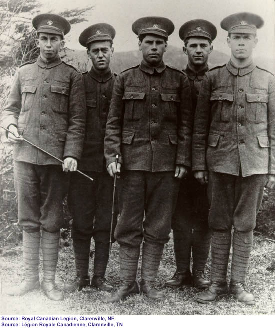 Men from Clarenville who served in the First World War