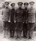 Men from Clarenville who served in the First World War– left to right: William Noseworthy, Kenneth Driscoll, Goliath Bursey, Ralph Balsom, Alonzo Adey