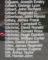 Memorial– Flying Officer Hugh Gordon Gilchrist is also commemorated on the Bomber Command Memorial Wall in Nanton, AB … photo courtesy of Marg Liessens