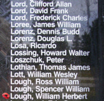 Memorial– Warrant Officer Class II William Herbert Lough is also commemorated on the Bomber Command Memorial Wall in Nanton, AB … photo courtesy of Marg Liessens