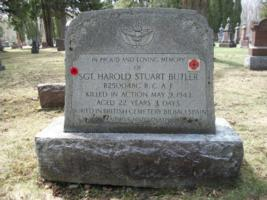 Memorial– Sergeant Harold Stuart Butler is also commemorated on a memorial stone in Harriston Public Cemetery, Harriston, ON ... April 2019 ... photo courtesy of Marg Liessens