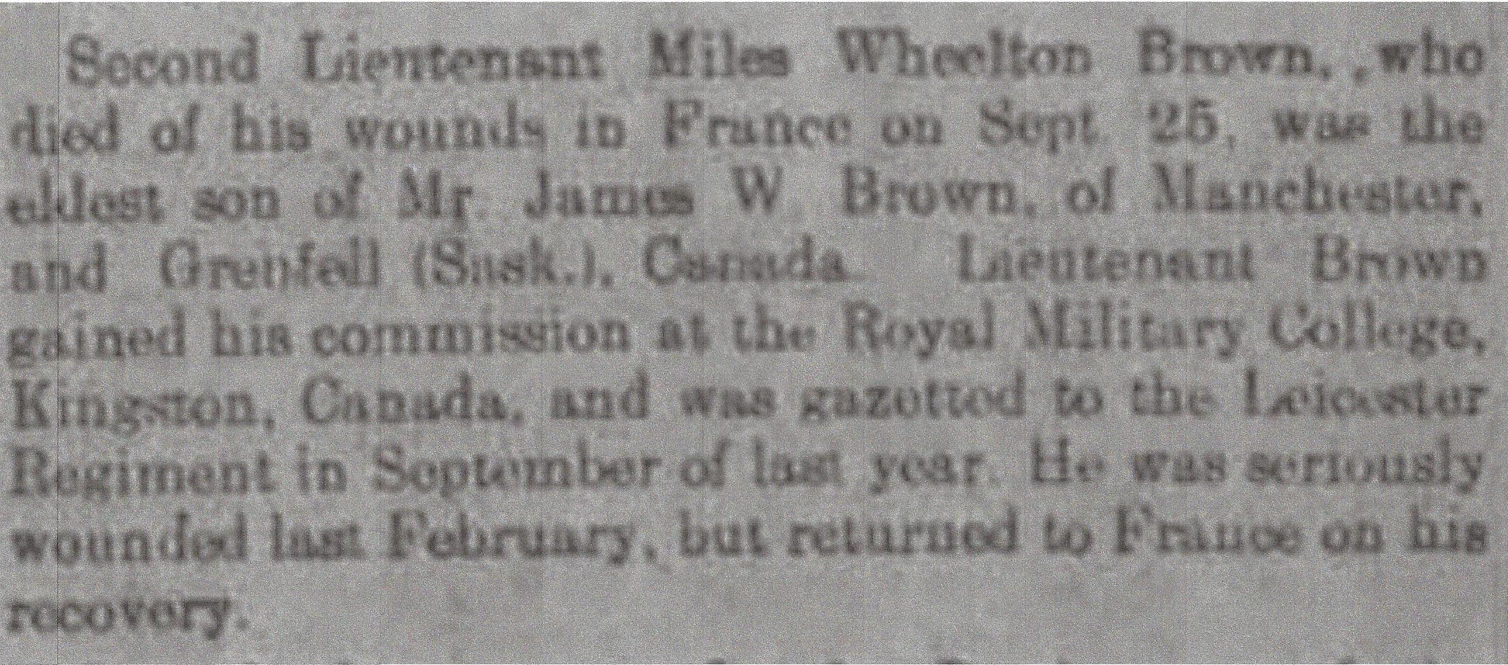 Newspaper Clipping– Newspaper clipping from Daily Telegraph of October 5, 1915. Image taken from web address of http://www.telegraph.co.uk/news/ww1-archive/11902190/Daily-Telegraph-October-5-1915.html