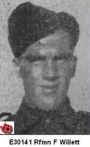 Photo of FRED WILLETT– In memory of those who served in Hong Kong during World War 11 and did not come home. Submitted with permission on behalf of the Hong Kong Veterans Commemorative Association by Operation: Picture Me.