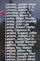 Memorial– Flight Sergeant John Anthony Leboldus is also commemorated on the Bomber Command Memorial Wall in Nanton, AB … photo courtesy of Marg Liessens