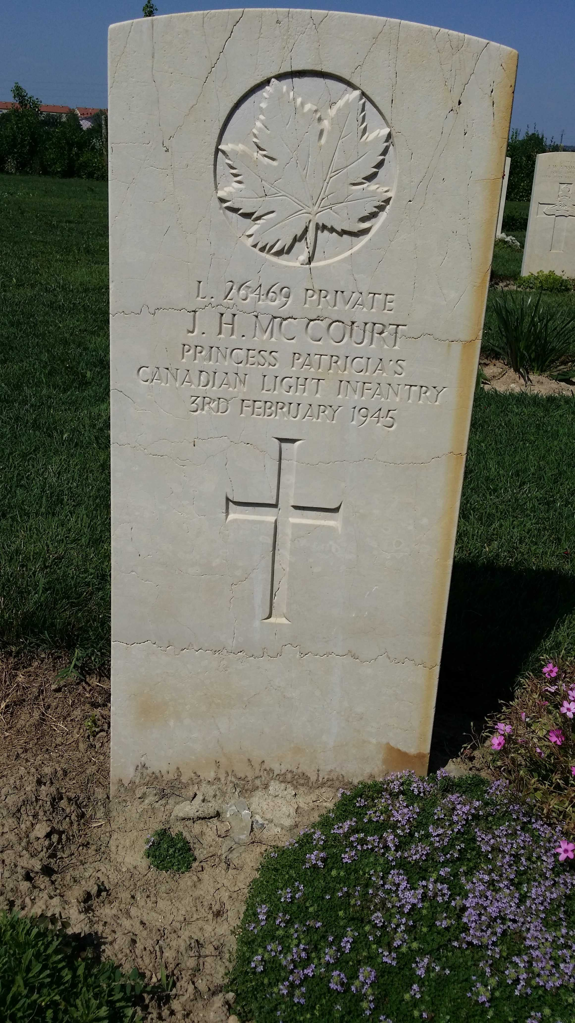 Grave marker– Fallen member of The PPCLI. JH MCCourt