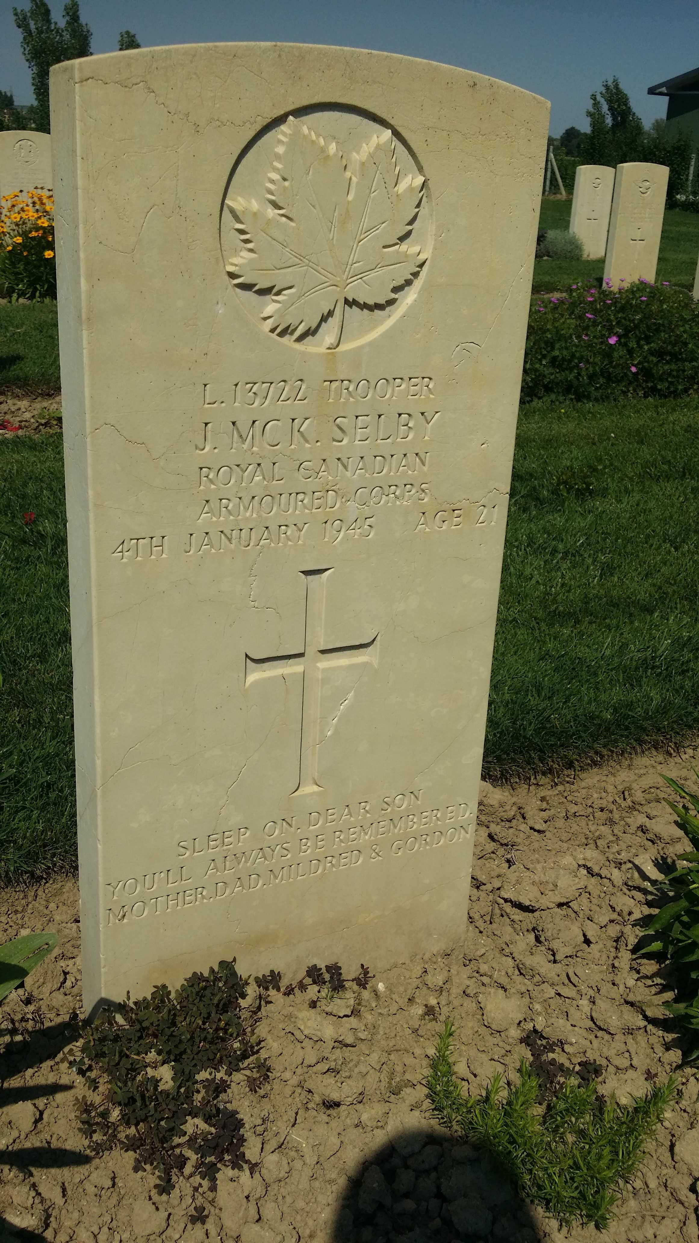 Grave Marker– JM Selby - CWWG Padua, Italy