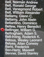 Memorial– Flying Officer William George Bellinger is also commemorated on the Bomber Command Memorial Wall in Nanton, AB … photo courtesy of Marg Liessens