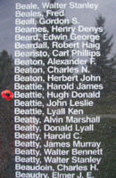 Memorial– Flying Officer Hugh Donald Beattie is also commemorated on the Bomber Command Memorial Wall in Nanton, AB … photo courtesy of Marg Liessens