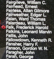 Memorial– Sergeant Frederick Harold Falk is also commemorated on the Bomber Command Memorial Wall in Nanton, AB … photo courtesy of Marg Liessens