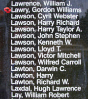 Memorial– Flying Officer Gordon Williams Lawry is also commemorated on the Bomber Command Memorial Wall in Nanton, AB … photo courtesy of Marg Liessens