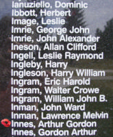 Memorial– Flight Sergeant Arthur Gordon Innes is also commemorated on the Bomber Command Memorial Wall in Nanton, AB … photo courtesy of Marg Liessens
