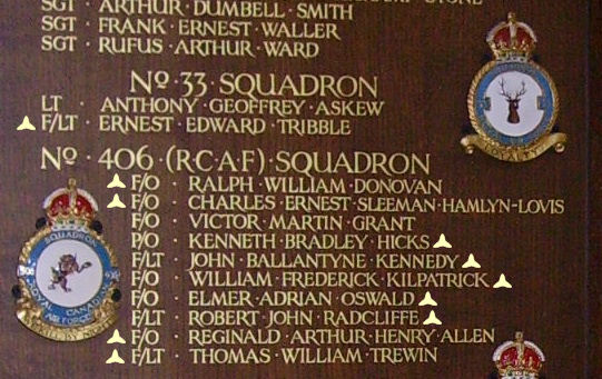Inscription– Flying Officer Reginald Arthur Henry Allen is also commemorated at St George's Royal Air Force Chapel of Remembrance - Biggin Hill … name on the panels that surround the Altar … Photo courtesy of Marg Liessens