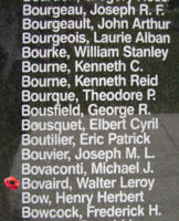 Memorial– Flight Sergeant Walter Le Roy Bovaird is also commemorated on the Bomber Command Memorial Wall in Nanton, AB … photo courtesy of Marg Liessens