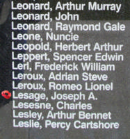 Memorial– Warrant Officer Class II Joseph Alexander Lesage is also commemorated on the Bomber Command Memorial Wall in Nanton, AB … photo courtesy of Marg Liessens