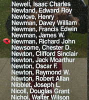Memorial– Flying Officer Richard John Newman is also commemorated on the Bomber Command Memorial Wall in Nanton, AB … photo courtesy of Marg Liessens