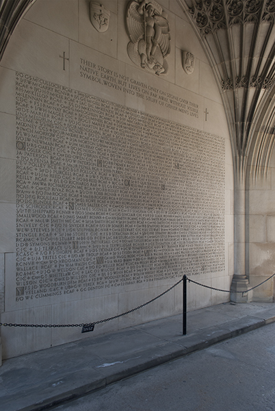 """Memorial Arch– The names of those who died in the Second World War were added to the archway beneath the Soldiers' Tower in 1949. The name of """"F/O J. R. NEWMAN R.C.A.F."""" is among the names inscribed. Photo: Cody Gagnon, courtesy of Alumni Relations."""