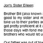 Eileen's tribute to her brother