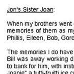 Joan's tribute to her brother