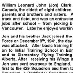 Obituary– This obituary was written by Jon's sisters Phillis, Eileen and Joan in 2002.  Sadly, by then, three of Jon's brothers, Jack, Bob and Harry, had passed away, leaving  Gordon as Jon's only surviving brother.