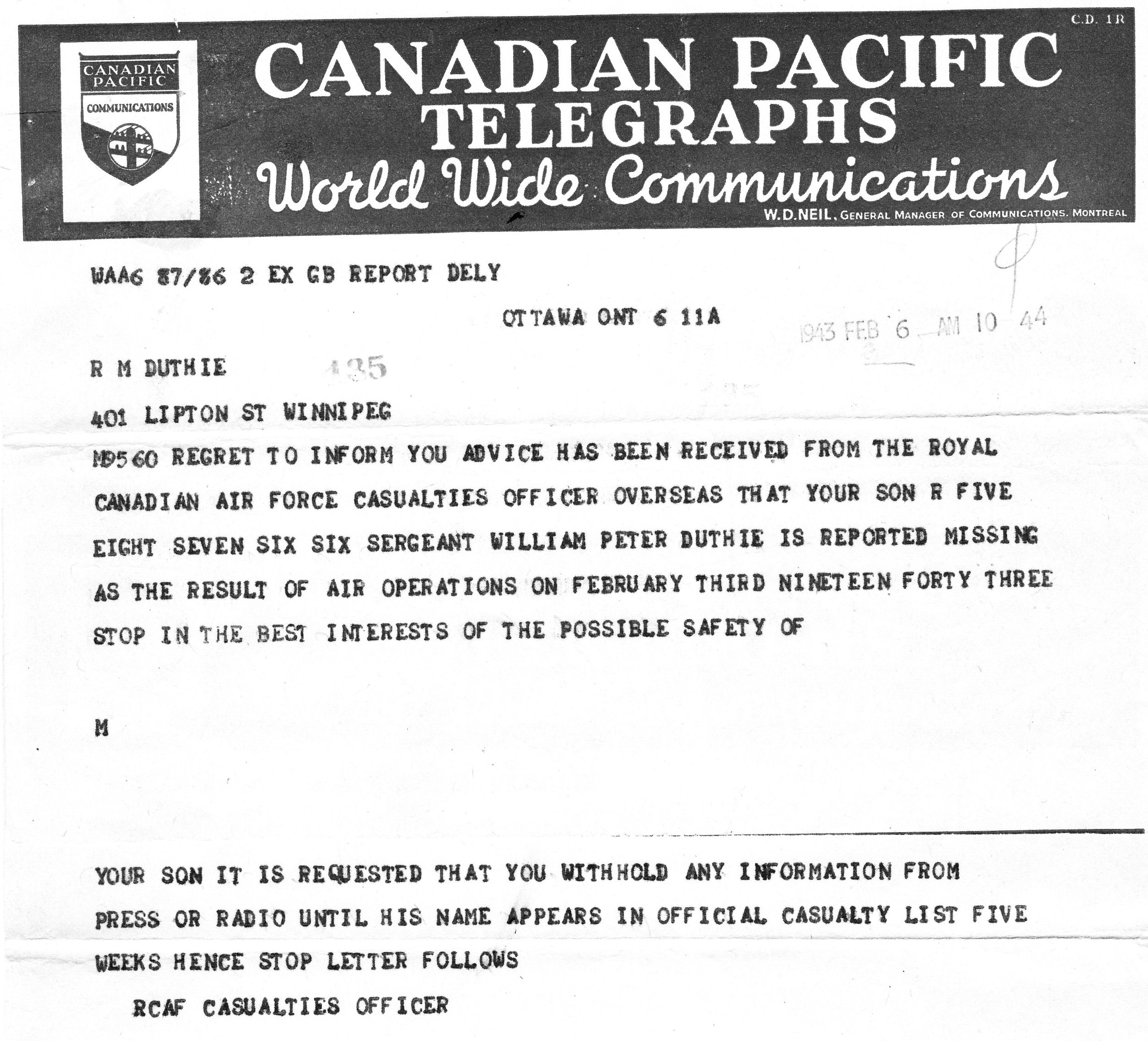 Telegram– First telegram sent to parents. A second one a few weeks later confirmed Peter's death in the crash of his Halifax bomber (shot down over the Netherlands en route to Germany).