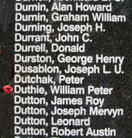 Memorial– Sergeant William Peter Duthie is also commemorated on the Bomber Command Memorial Wall in Nanton, AB … photo courtesy of Marg Liessens