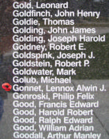 Memorial– Warrant Officer Class II Lennox Alwin Gonnett is also commemorated on the Bomber Command Memorial Wall in Nanton, AB … photo courtesy of Marg Liessens
