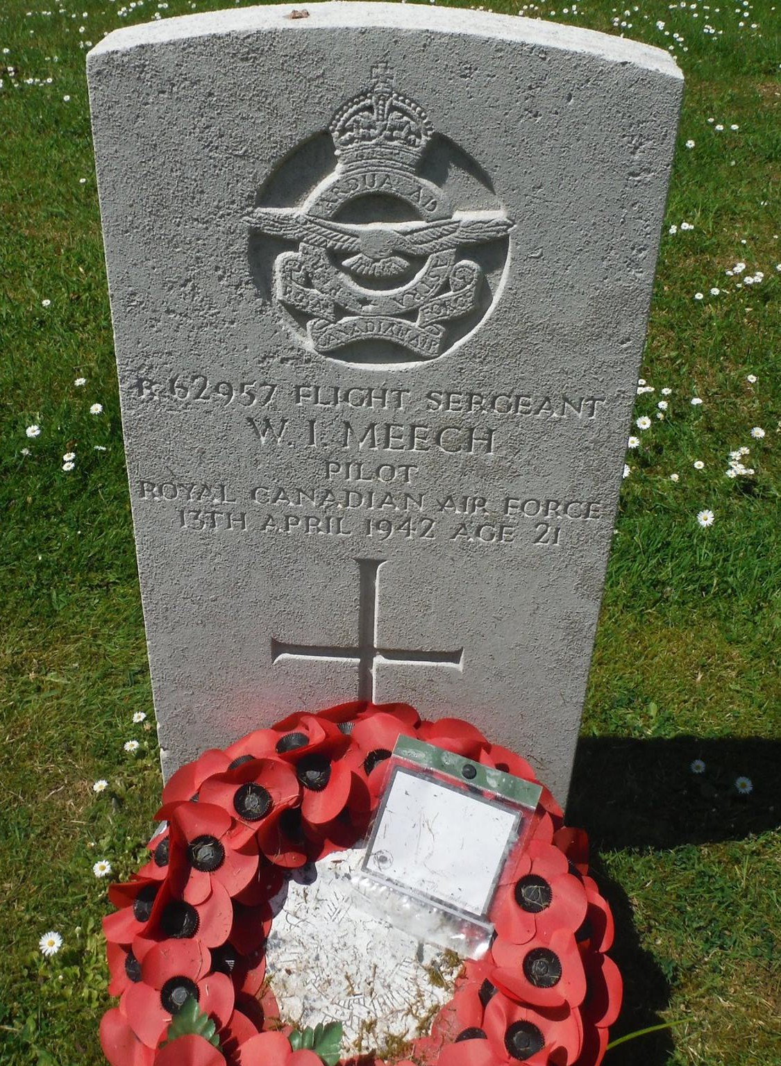 Grave Marker– Flight Sergeant William Ian Meech 408 squadron RCAF Stationed at RAF Balderton Lost in Hampden AT120 EQ-C on the 13/04/1942 Buried in Aylesham cemetery Kent