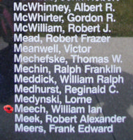 Memorial– Flight Sergeant William Ian Meech is also commemorated on the Bomber Command Memorial Wall in Nanton, AB … photo courtesy of Marg Liessens