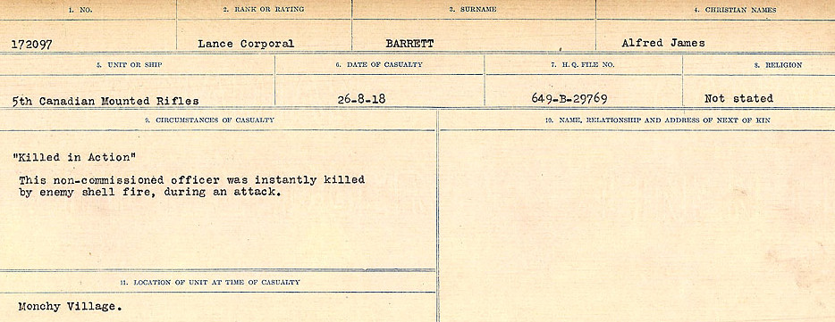 Circumstances of Death Registers– Source: Library and Archives Canada.  CIRCUMSTANCES OF DEATH REGISTERS, FIRST WORLD WAR Surnames:  Bark to Bazinet. Mircoform Sequence 6; Volume Number 31829_B016716. Reference RG150, 1992-93/314, 150.  Page 413 of 1058.