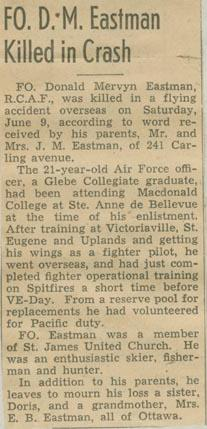 Newspaper Clipping– Flying Officer Donald Mervyn Eastman obit courtesy McGill University archives